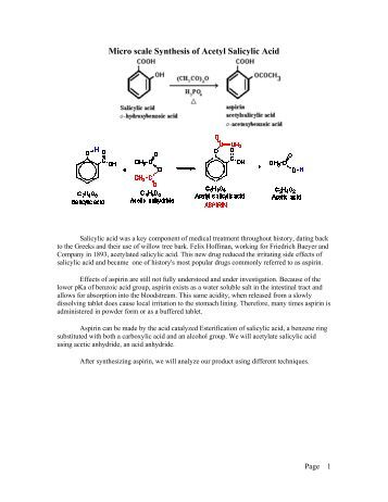 synthesis of acetyl salicylic acid aspirin Microscale synthesis of acetylsalicylic acid saliylic acid + acetic anhydride ( acetylsalicylic acid + acetic acid introduction: acetylsalicylic acid is a wonder drug par excellence  because it is easy to prepare, aspirin is one of the most inexpensive drugs available it is produced in vast amounts in fact, industry makes 43,000,000.