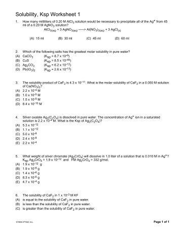 Solubility Ksp Worksheet 1
