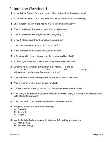 Worksheets The Periodic Law Worksheet worksheet 3 periodic trends ms heiningers science page law 4 revsworld