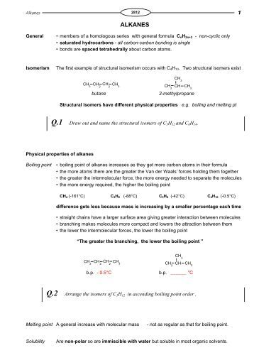 Worksheet Naming Alkanes