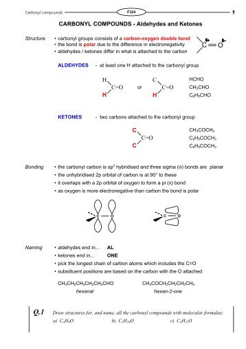 CARBONYL COMPOUNDS - Aldehydes and Ketones ... - KnockHardy