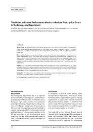 The Use of Individual Performance Metrics to Reduce Prescription ...