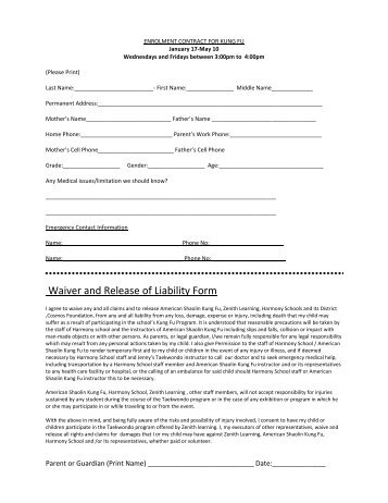 Waiver and Release of Liability Form - Harmony School of Science