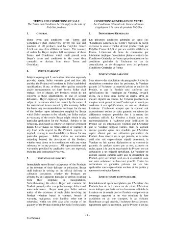 Polyone terms and conditions of sale France - updated September ...
