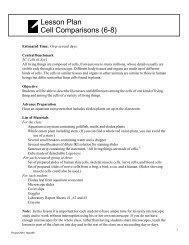 Handout: Lesson Plan, Cell Comparison (6-8) - Project 2061