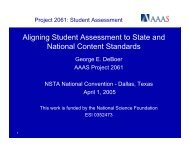 Aligning Student Assessment to State and National ... - Project 2061