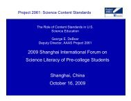 The Role of Content Standards in U.S. Science ... - Project 2061