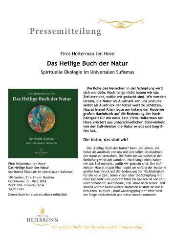 Pressemitteilung: Das Heilige Buch der Natur