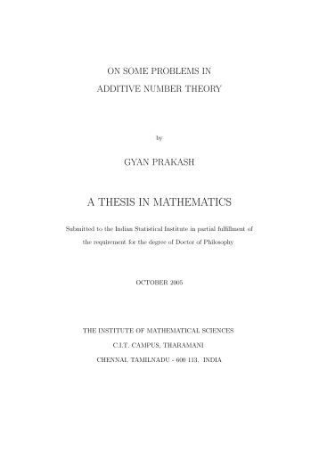 PhD Thesis   School of Mathematics  Statistics and Applied     Yumpu A THESIS IN MATHEMATICS   The Institute of Mathematical Sciences
