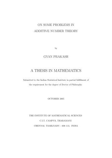 thesis problems in mathematics Support, attentiveness, and love throughout this master's thesis project as well   of reading and the comprehension of math problems, vocabulary instruction in.