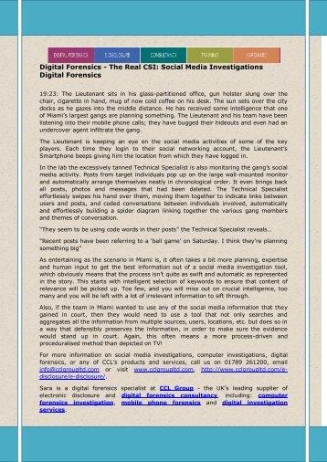Digital Forensics - The Real CSI: Social Media Investigations Digital Forensics