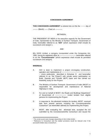 Model Concession Agreement For Bot Projects Upto Rs100 Crores