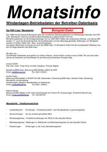 Monatsinfo Windanlagen-Betriebsdaten der Betreiber-Datenbasis