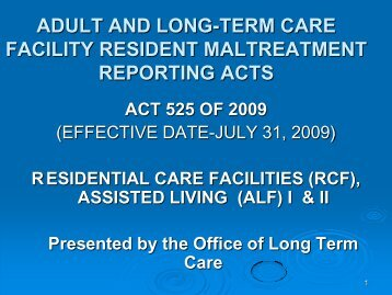 adult and long-term care facility resident maltreatment reporting acts