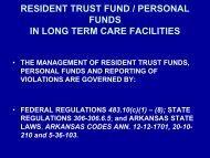 Resident Trust Funds - Arkansas Department of Human Services