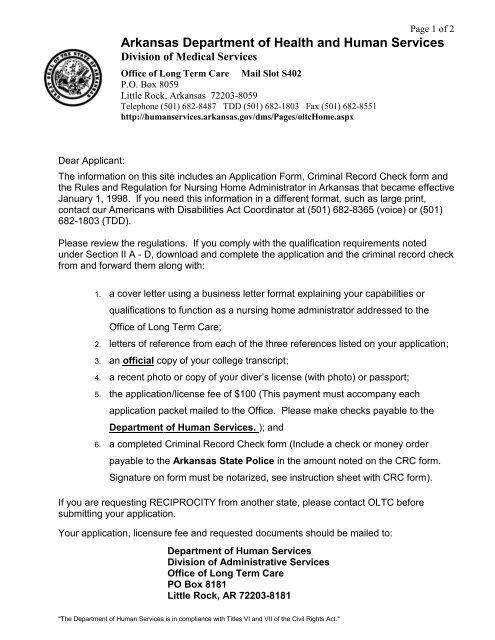 Application Letter of Instruction - Arkansas Department of Human ...