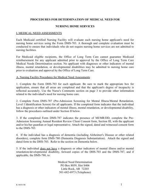 Medical Need Determination Procedure - Arkansas Department