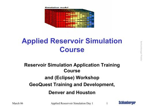 Applied Reservoir Simulation Course - FANARCO
