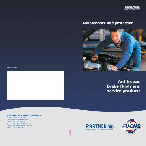 Antifreeze, brake fluids and service products