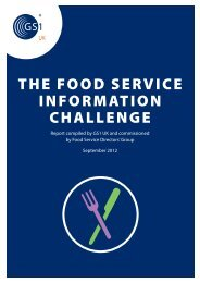 THE FOOD SERVICE INFORMATION CHALLENGE - GS1 UK