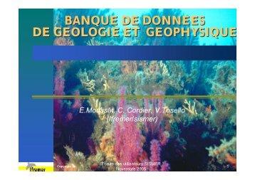 BANQUE DE DONNEES DE GEOLOGIE ET GEOPHYSIQUE BANQUE DE DONNEES DE ...