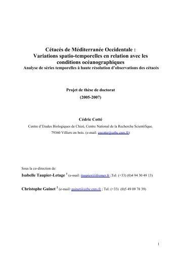 Cétacés de Méditerranée Occidentale : Variations spatio ... - ifremer