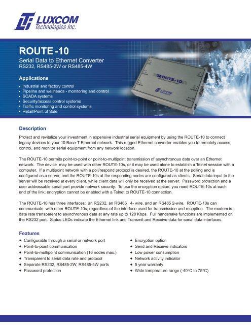 Data Sheet ( pdf) - Luxcom Technologies Inc