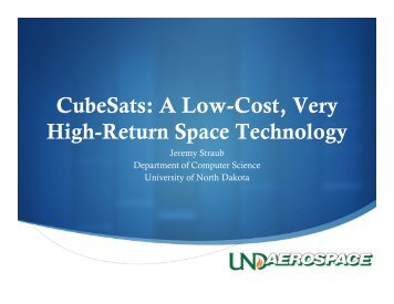 Ⅰ CubeSats: A Low-Cost, Very High-Return Space Technology