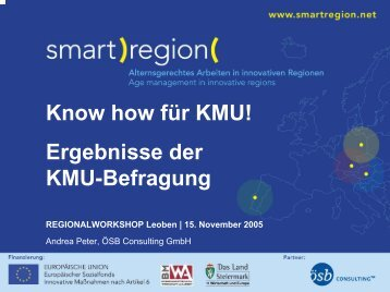 Know how für KMU! Ergebnisse der KMU-Befragung - Smart Region