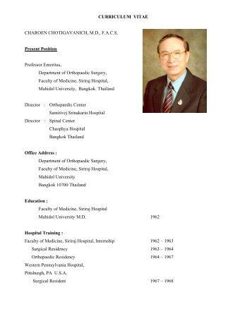 CURRICULUM VITAE CHAROEN CHOTIGAVANICH, M.D., F.A.C.S. ...