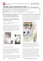 BOOK ARTS NEWSLETTER No. 53 November 2009