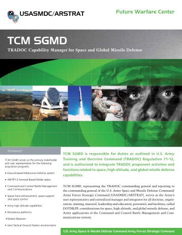 TCM SGMD - Space and Missile Defense Command - U.S. Army