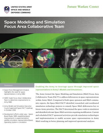 Space Modeling and Simulation Focus Area Collaborative Team