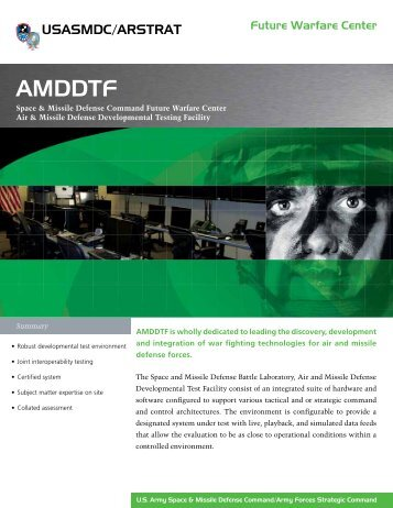 AMDDTF - Space and Missile Defense Command - U.S. Army