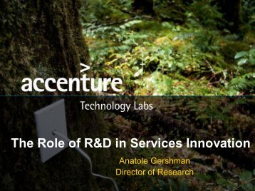 The Role of R&D in Services Innovation - Smeal College of Business