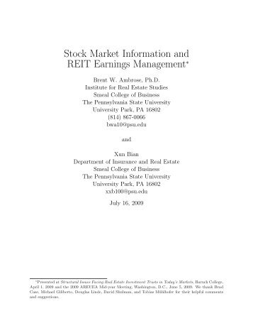 Stoc Mar et Information and REIT Earnings Management