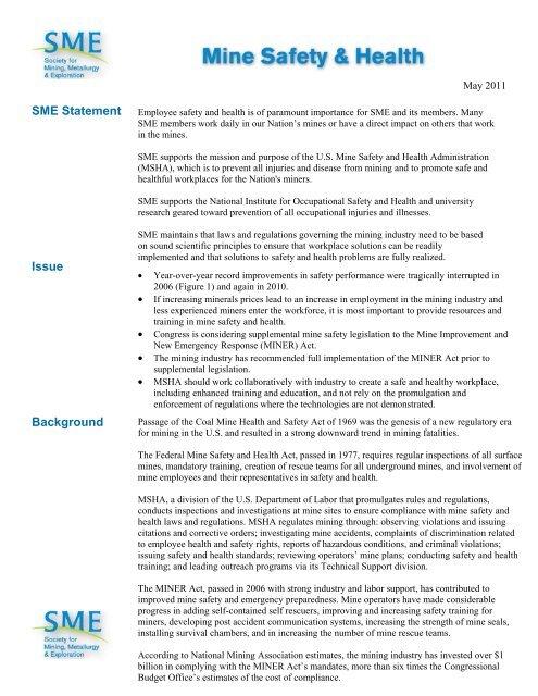 Mine Safety & Health - SME