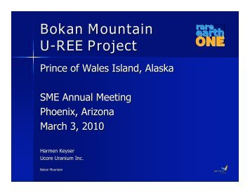 Bokan Mountain U-REE Project Prince of Wales Island ... - SME