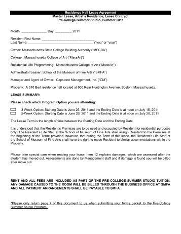 Residence Hall Lease Agreement Master Lease, Artistu0027s Residence .