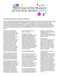 Post-Baccalaureate Certificate Program Post-Bac Benefits: