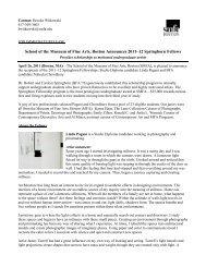 School of the Museum of Fine Arts, Boston Announces 2011–12 ...