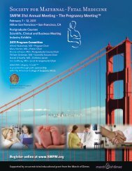 31st Annual Meeting - Society for Maternal-Fetal Medicine