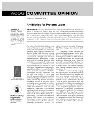 Antibiotics for preterm labor. ACOG Committee Opinion No. 445 ...
