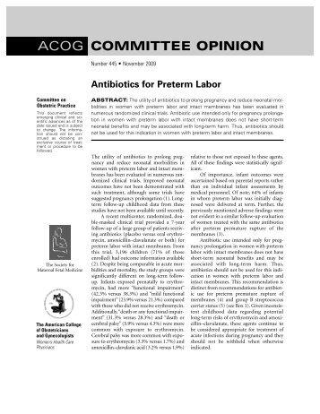 Antibiotics for preterm labor. ACOG Committee Opinion No. 445 ...