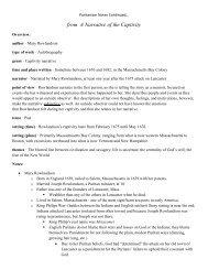 Mary Rowlandson Notes