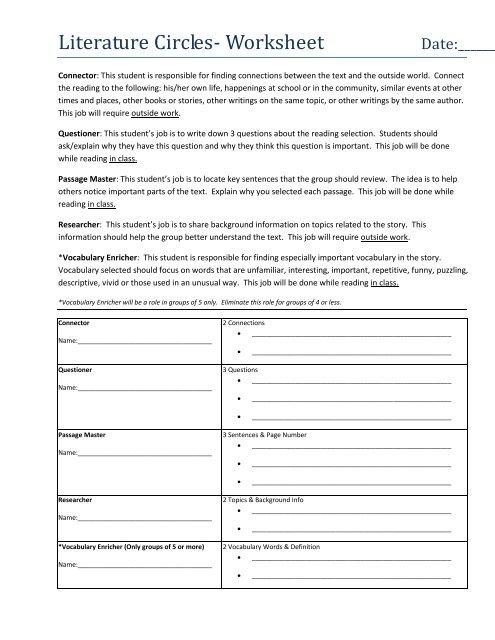 Literature Circles Worksheet