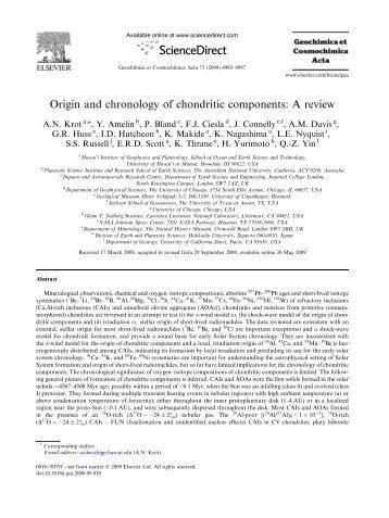 Krot et al - 2009 - Origin and chronology of - StarPlan