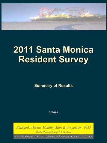 2011 Santa Monica Resident Survey - City of Santa Monica
