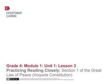 Grade 4 ELA Module 1, Unit 1, Lesson 3 - EngageNY