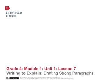 Grade 4 ELA Module 1, Unit 1, Lesson 7 - EngageNY